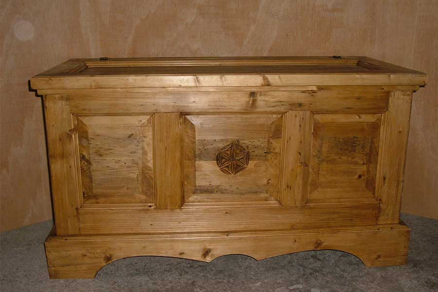 Hand-carved Tre Cime di Lavaredo chest