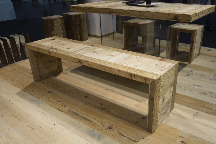 Sella Ronda handcrafted bench in old wood