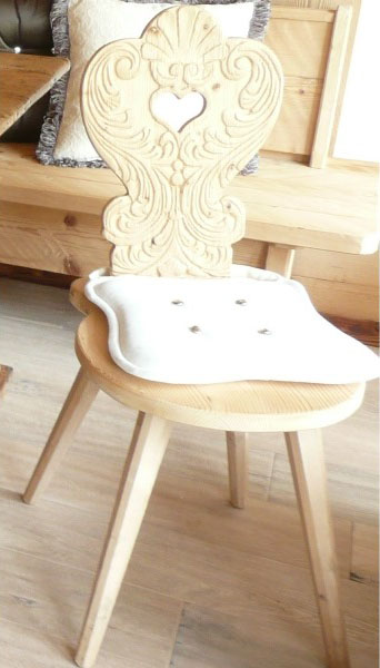 Tyrolean Chair with carved seatback